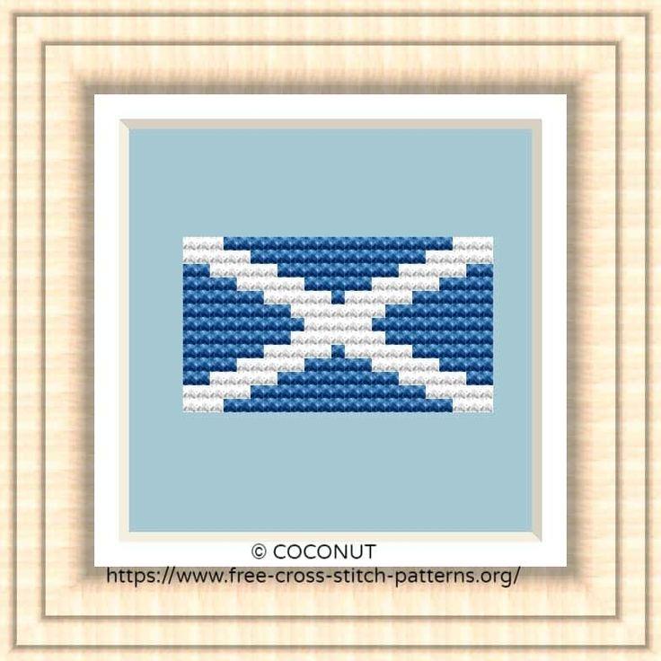 NATIONAL FLAG OF SCOTLAND CROSS STITCH CHART