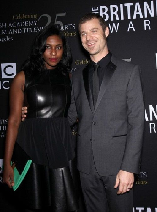 Matt Stone writer and producer of the television series South Park and his wife Angela Howard. Married 2008