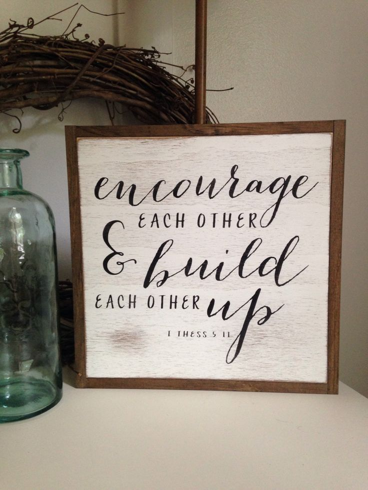 ENCOURAGE {1'X1'} sign | distressed wooden sign | farmhouse decor | framed wall art by ThePeddlersShed on Etsy