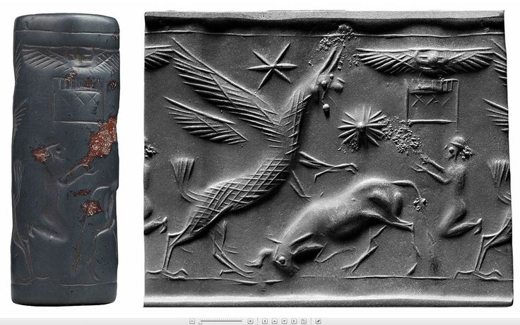 Griffin attacking a bull (Cylinder seal and impression) Mesopotamia [13th century BC] New York Morgan Library & Museum