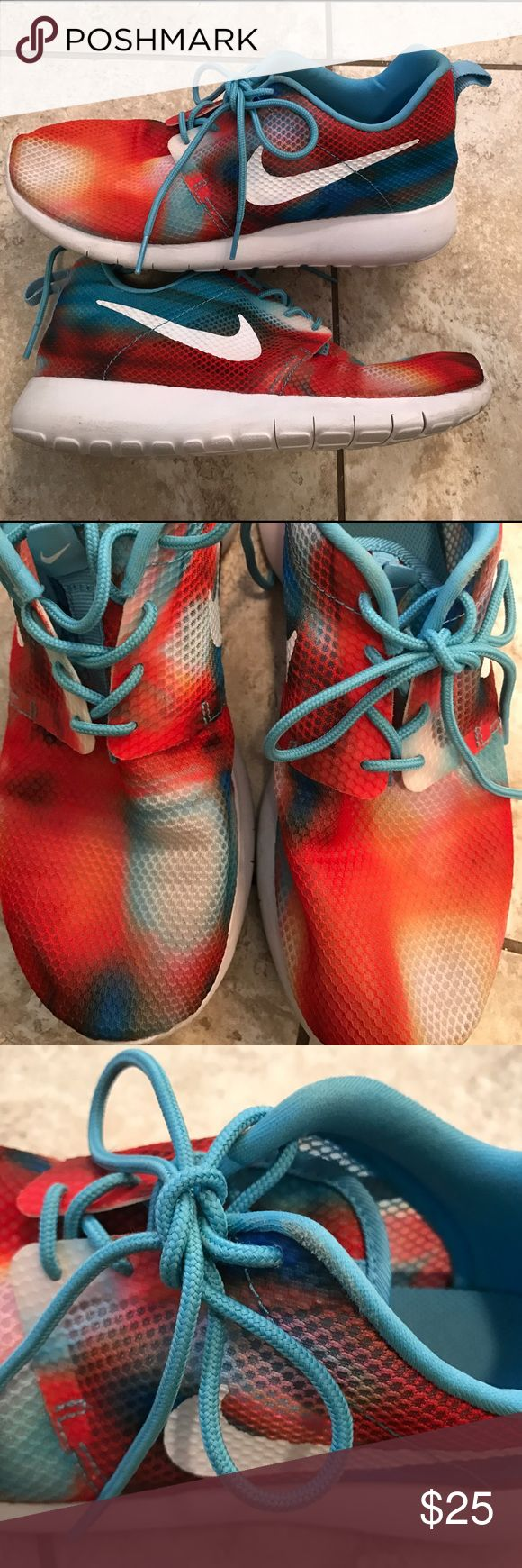 Nike Roshe Tie dye running shoes 5.5y woman's 7 Worn only a few times size 6.5 ladies 7 great shape! Nike Shoes Athletic Shoes