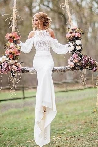 Affordable Unique Design Lace Top Long Sleeves Mermaid Long Wedding Dress