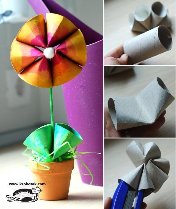 FLORES DE PAPEL - Faça flores usando rolinhos de papel higiênico!