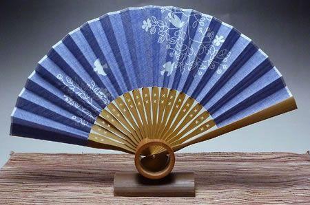 和風婦人用ダンガリー扇子(ブルー・小鳥・綿・中国製)