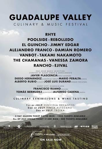 Guadalupe Valley Culinary & Music Festival 1 a 3 julio Ensenada