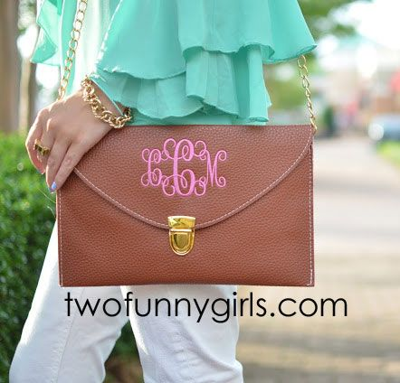 GREAT gift idea for a girlfriend - Monogrammed Clutch Purse - Two Funny Girls