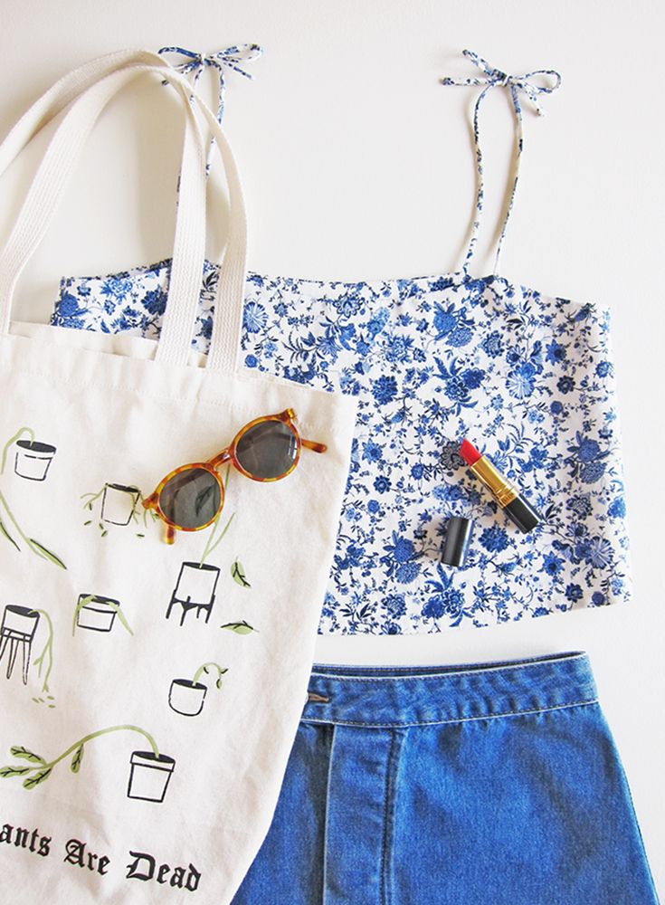 Plume Clothing. Penny Top in blue floral cotton/linen. Stay Home Club canvas bag.