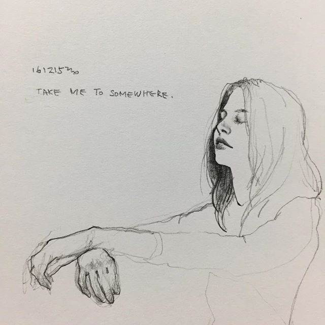 어디든 자유롭고 여유로운 곳으로 #취미 #미술 #그림 #낙서 #스케치 #여자 #hobby #doodle #drawing #sketch #woman