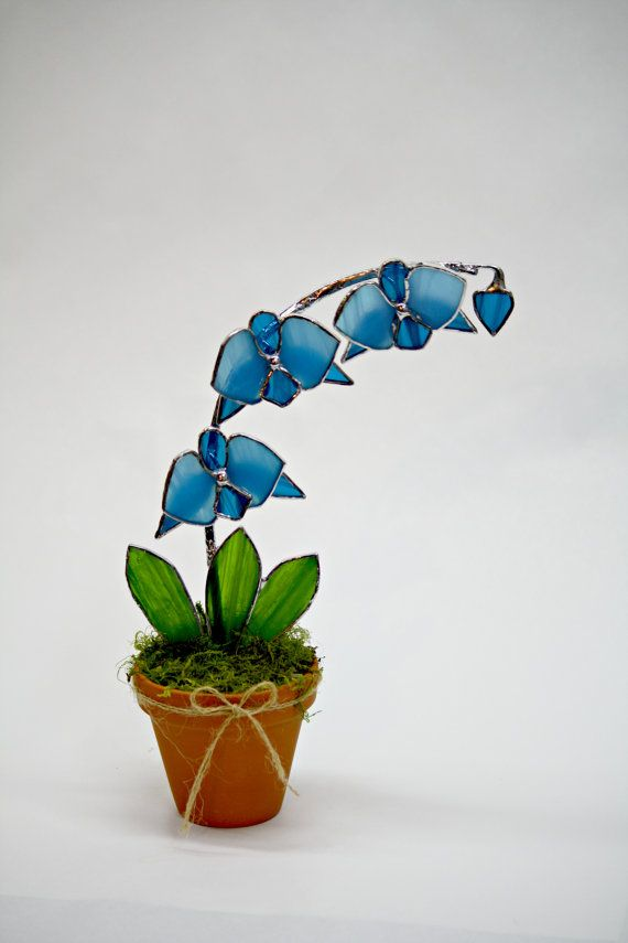 Large Blue Orchid Suncatcher Stained Glass Decorative Potted Plant