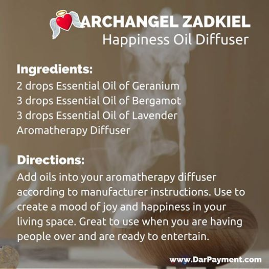Archangel Zadkiel Happiness Essential Oil Diffuser. Use to create a mood of joy and happiness in your living space. Also great to use when you are having people over and are ready to entertain. #archangels, #archangel Zadkiel, #essential oils