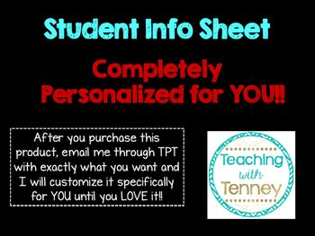 Back to School Student Info Sheet for Meet the Teacher or First Week of School Folders. Personalized!!!!