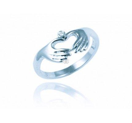 Δαχτυλίδι μονόπετρο καρδιά λευκόχρυσο με διαμάντι #ring #heart #whitegold #diamond #woman #proposal #love