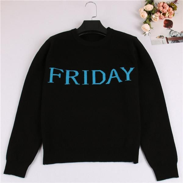 One Week Letters Fashion Women Sweater Black Knitting Pullover Sunday Monday Tuesday Wendnesday Thursday Friday Saturday Jumper