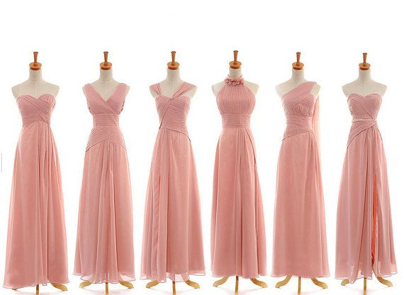 Blush Bridesmaid Dress 2014 Long Chiffon by harsuccthing on Etsy - $109 off Etsy in Blush, pearl pink, champagne, grey, gold