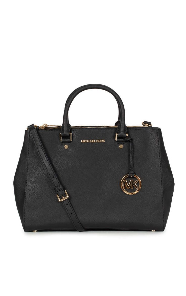 Väska Sutton LG Satchel BLACK/GOLD - Michael - Michael Kors - Designers - Raglady