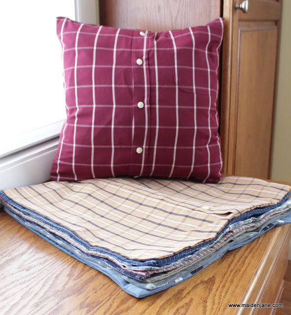 Maiden Jane: Memory Pillows...make with old grandpa and dad shirts!