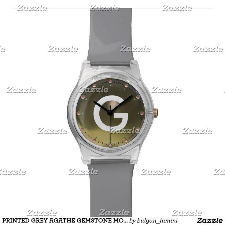 PRINTED GREY AGATHE GEMSTONE MONOGRAM WRIST WATCHES #gemstones #fashion #watch #accessory #gems #3d #geek #tech #jewel