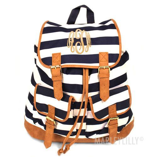 Monogrammed Stripe Campus Backpack from Marleylilly.com! #monograms #backpack #backtoschool