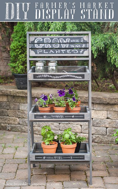 DIY Farmer's Market Inspired Display Stand | www.brooklynlimestone.com  Great for plants, an outdoor party bar, organizing garden tools!