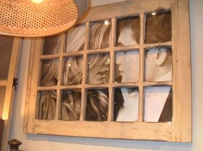 Milk and Honey Design: A vintage window can even be used to display your favorite engagement or wedding portrait.: Old Window Frames, Ideas, Window Pictures, Vintage Window, Old Windows, Window Panes, Picture Frames, Photo, Pictures Frames