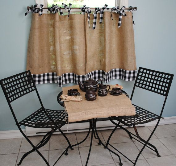 Ruffled Bottom Burlap Curtain