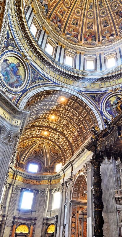 Inside St. Peter's Basilica, Rome Italy is literally the most beautiful place that I have ever been. AMAZING!