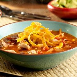 This kicked-up soup features sautéed onions and spicy peppers combined with chicken, corn, tomatoes and black beans all simmered in a delicious broth. The result is an ultra-flavorful soup your family will love!