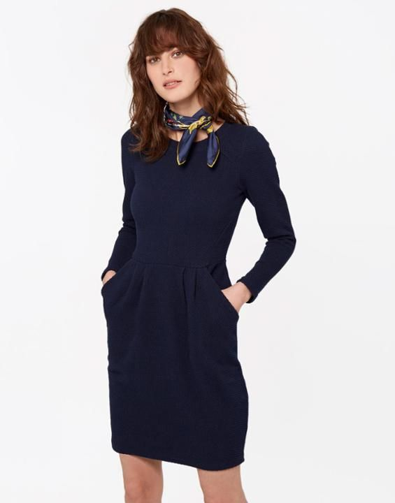 Joules UK DAYLIA Womens Textured Jersey Dress French Navy