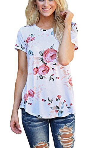 Sheshares Women Chic Shirt Floral Tee Round Neck Junior S...