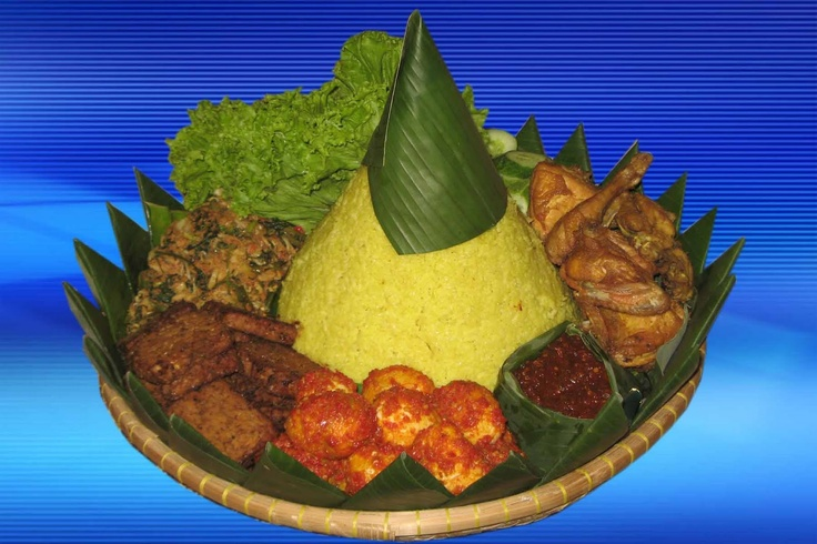 Nasi kuning - yellow rice and fixins
