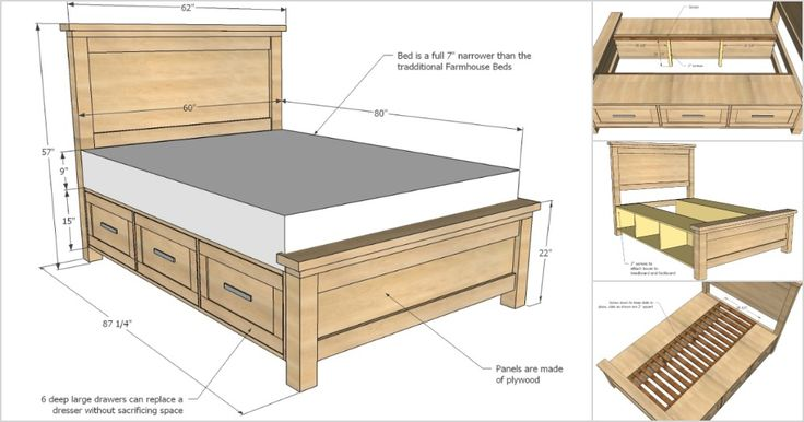 Creative Ideas - How To Build A Farmhouse Storage Bed with Drawers  Plano de Cama moderna