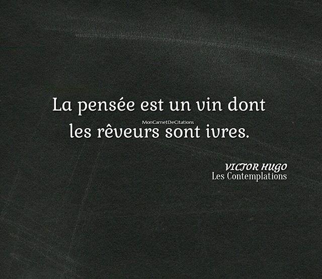 """""""La pensée est un vin dont les rêveurs sont ivres.""""  ✒️ Victor Hugo / Les contemplations"""