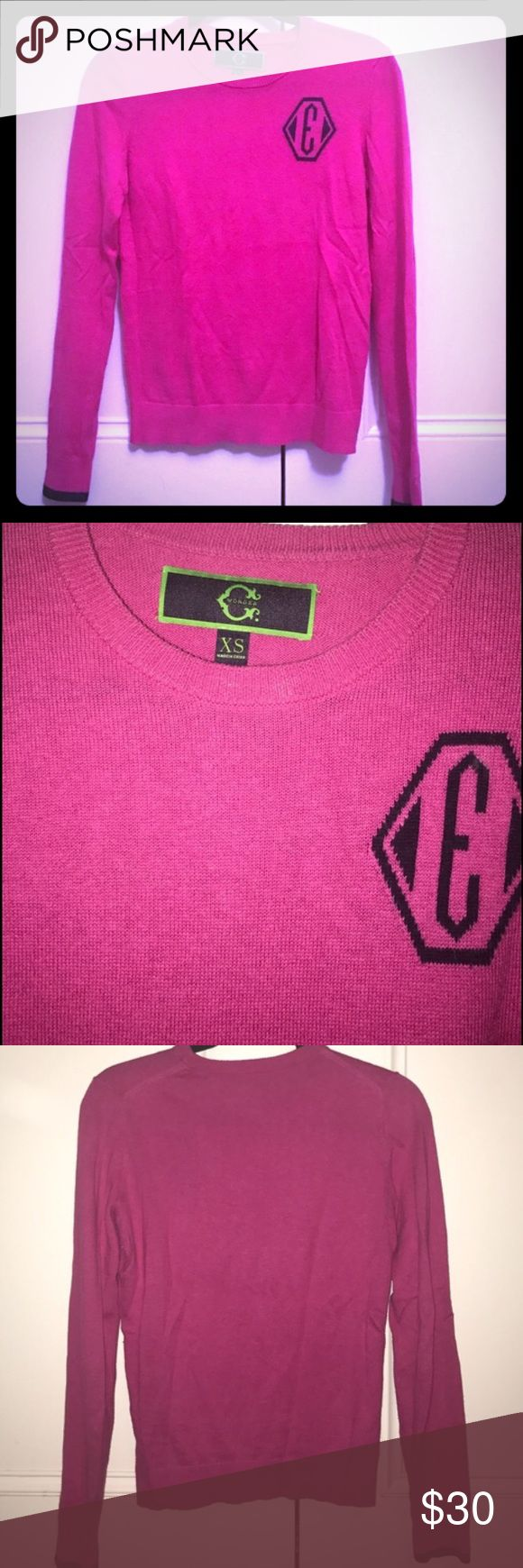 C Wonder pink E crewneck lightweight sweater C. Wonder hot pink crewneck sweater with navy blue E and navy blue trim C. Wonder Sweaters Crew & Scoop Necks