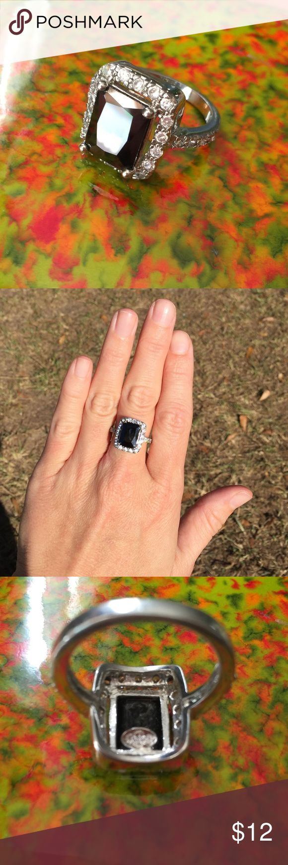 Premier Jewelry Black Onyx Ring Size 8 Beautiful square black onyx ring surrounded by faux diamonds. Came from Premier Jewelry Catalog. There are no flaws on the ring. Premier Designs Jewelry Rings