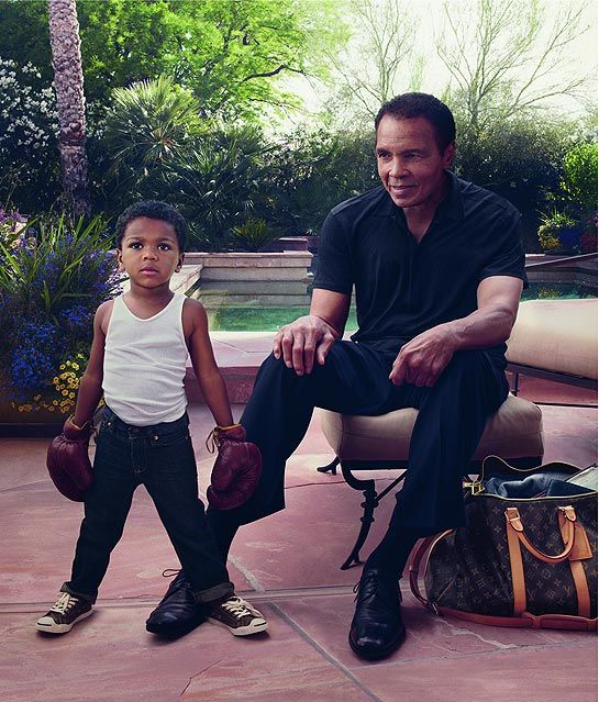 Muhammad Ali and his look-alike grandson, son of Ali's daughter Laila, appear in a Louis Vuitton ad.  The Greatest looks amazing.
