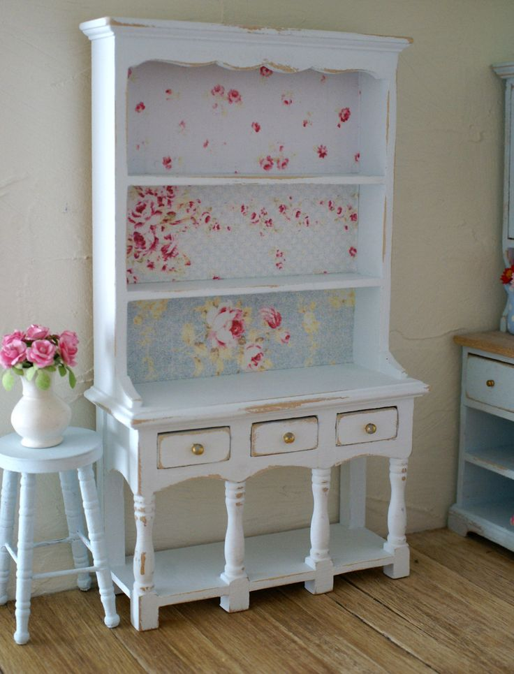 beautiful pale blue shabby chic 1 12 scale rose dresser hutch for your dollhouse via. Black Bedroom Furniture Sets. Home Design Ideas