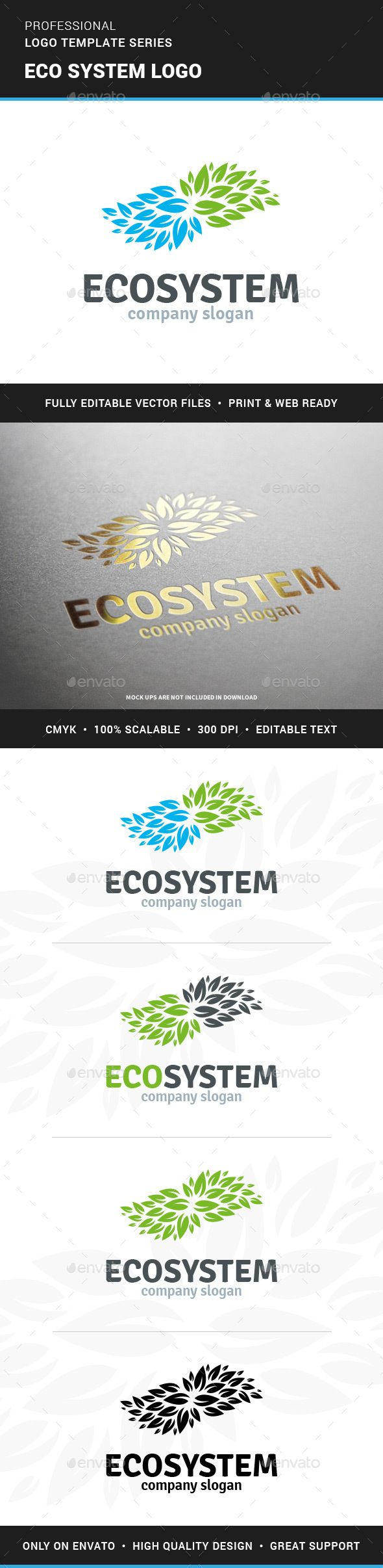 Eco System Logo Template — Vector EPS #earth #salon • Available here → https://graphicriver.net/item/eco-system-logo-template/13066388?ref=pxcr