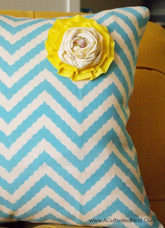 The Perfect Spring Pillow - aqua chevron with a handmade yellow rosette