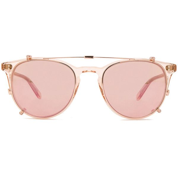 Garrett Leight Milwood Clip Sunglasses ($433) ❤ liked on Polyvore featuring accessories, eyewear, sunglasses, garrett leight, pink glasses, garrett leight sunglasses, pink sunglasses and rose gold sunglasses