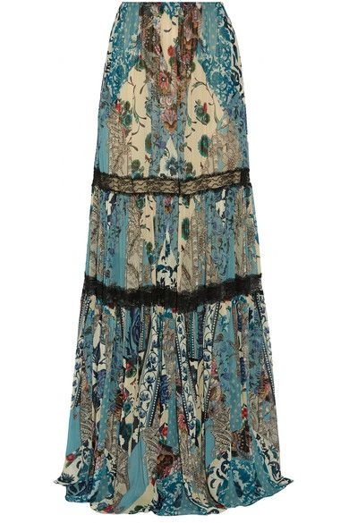 Roberto Cavalli - Lace-trimmed Printed Silk-chiffon Maxi Skirt - Blue - IT40