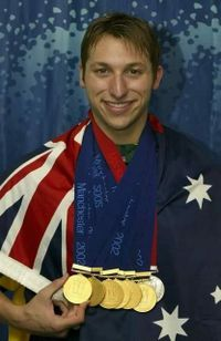 IAN THORPE ~ (born 13 October 1982) He has won five Olympic gold medals, the most won by any Australian, and with three gold and two silver medals, was the most successful athlete at the 2000 Summer Olympics. Thorpe has won eleven World Championship golds and was the Australian swimmer of the year from 1999 to 2003. #Australian #SportStars #Swimmer