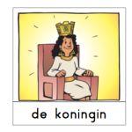 Woordkaarten over de koning en koningin