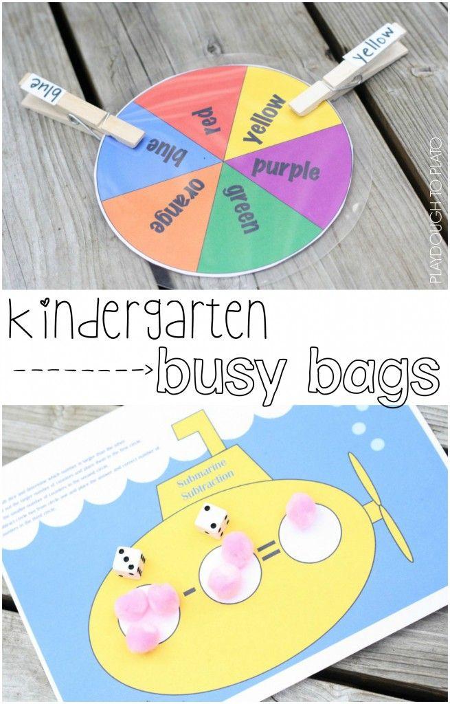 Two fun, FREE kindergarten busy bags.
