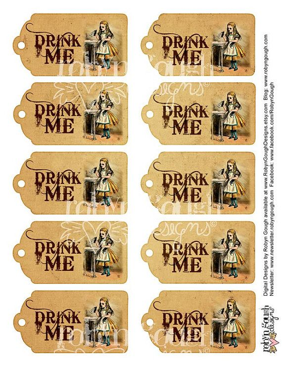 Alice in wonderland drink me vintage tags printable sheet for Alice in wonderland tags template