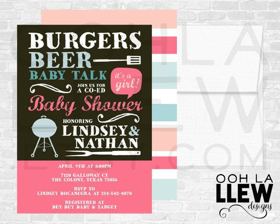 Burgers and Beer Invitation, Burgers and Beer Baby Shower, Burgers and Beer Invitations, Burgers and Beer Baby Shower Party Theme