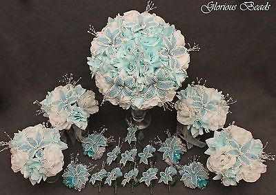 18-pcs-BEADED-LILY-Bridal-Bouquet-Wedding-Flowers-Package-Light-Blue-Beads