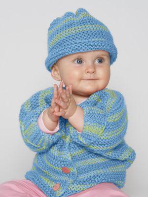 Free Knitting Pattern 90062AD Easy Peasy Sweater Set : Lion Brand Yarn Company