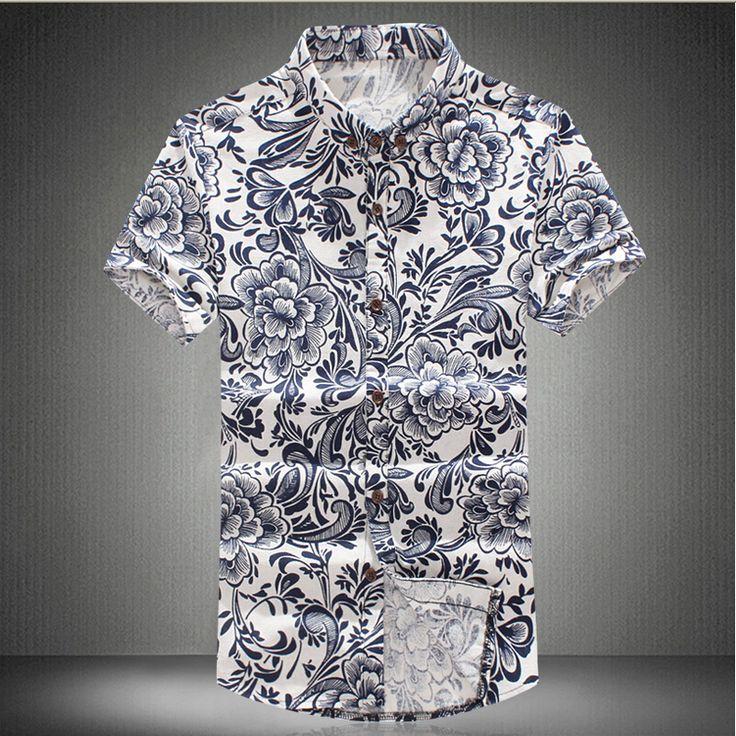 Coringa da moda 2016 novos homens de flor camisa Casual Slim Fit roupas de marca camisa de manga curta camisa masculina Social M-6XL(China (Mainland))