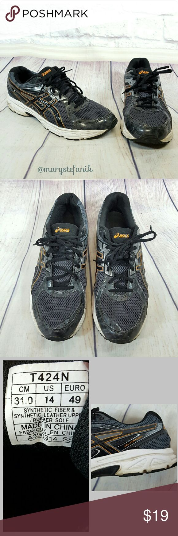MENS Asics Gel-Contend 2 Black & Orange Sneaker 14 MENS Asics Gel-Contend 2 Black & Orange Running Sneaker size 14 in great used condition. T424N. Reflective material for nighttime running.  Please let me know if you have any questions. Happy Poshing! Asics Shoes Sneakers