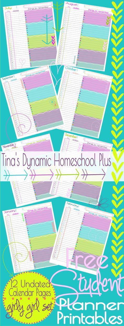 Free Student Planner–Undated Calendar {Girly Girl Set}